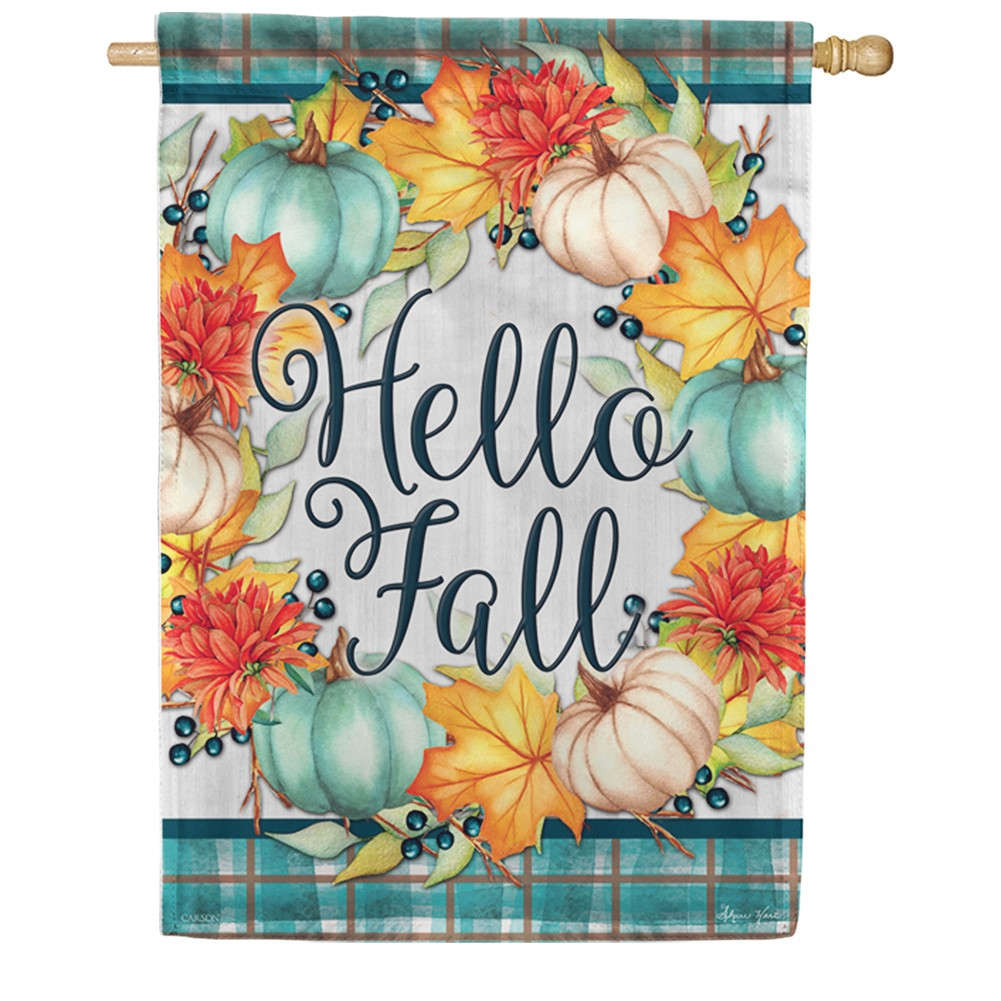 Hello Fall Wreath Double Sided House Flag