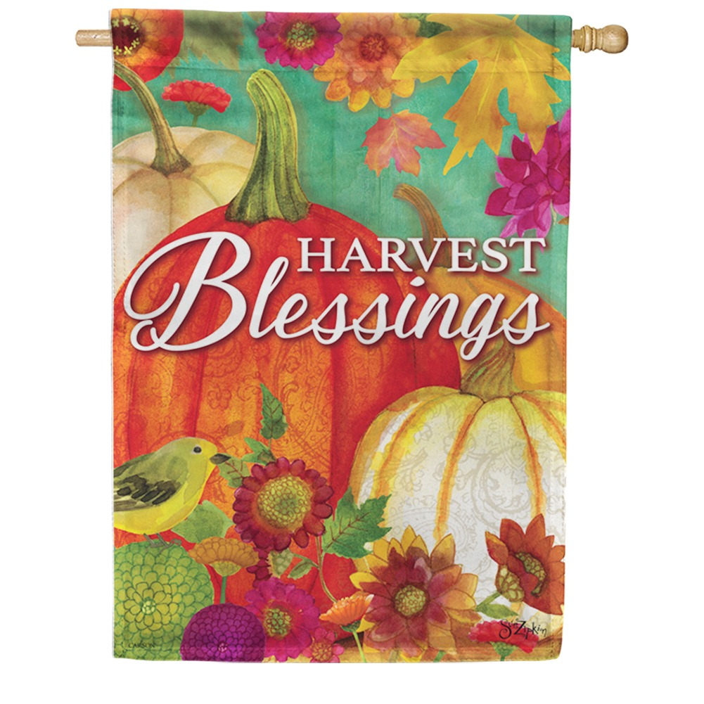 Pumpkin Harvest Blessings Welcome Double Sided House Flag