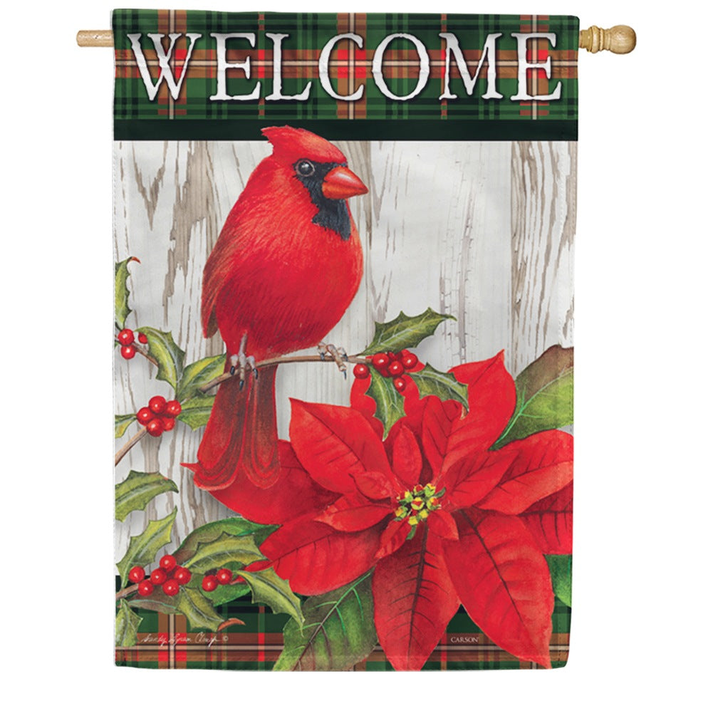 Sweet Cardinal Christmas Double Sided House Flag