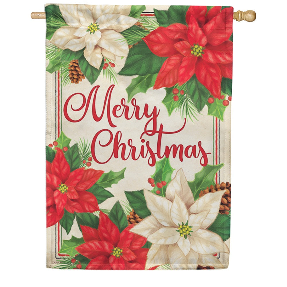 Pretty Poinsettias Double Sided House Flag