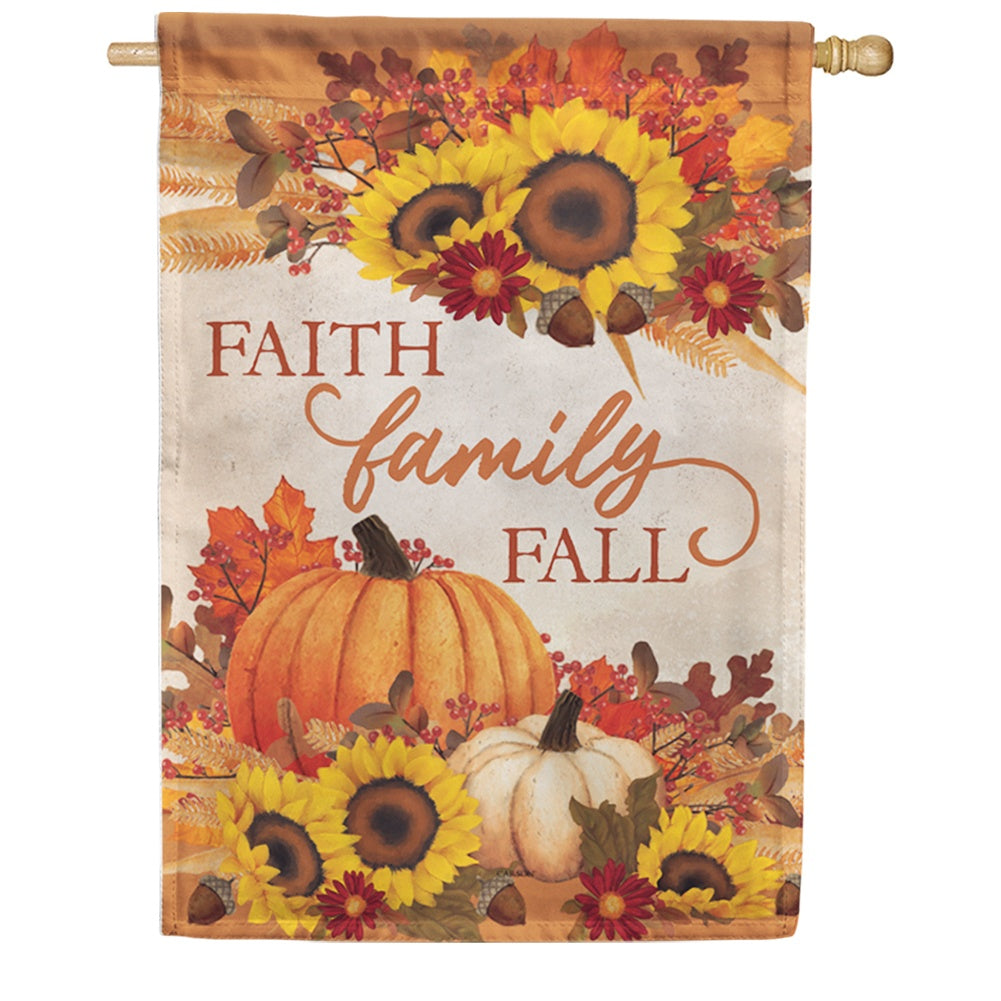 Faith, Family, Fall Double Sided House Flag