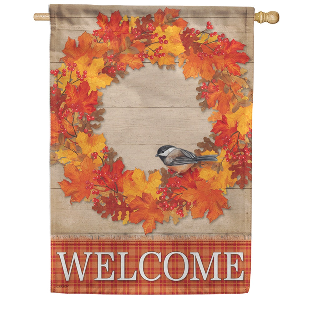 Autumn Wreath Bird Welcome Double Sided House Flag