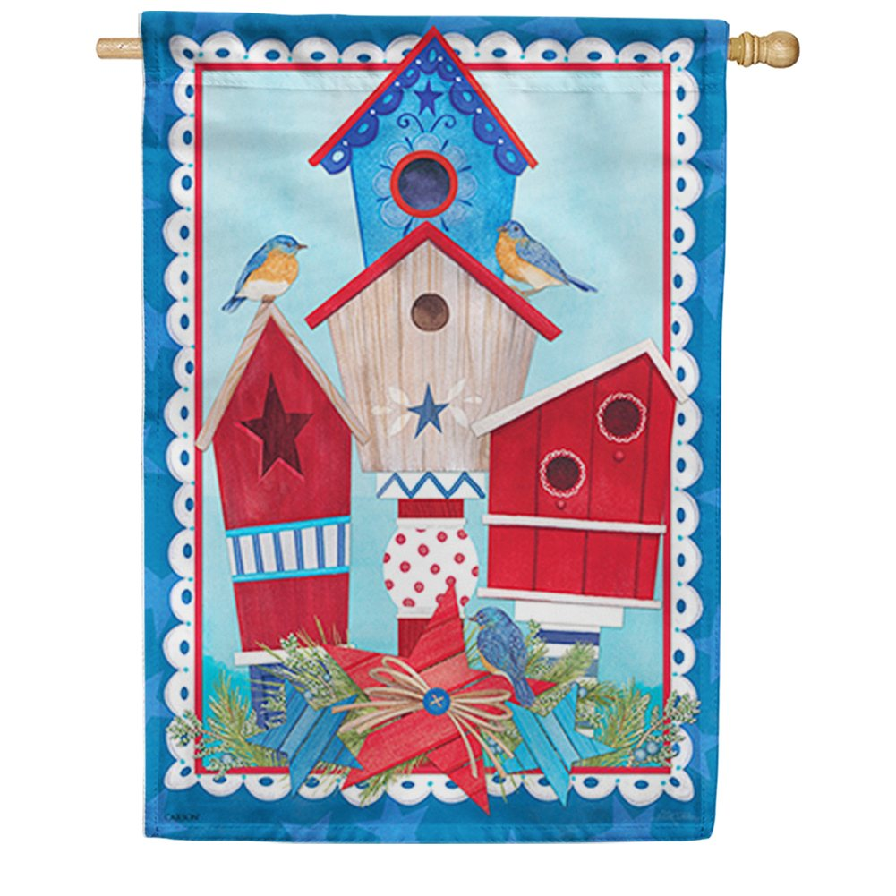 Red, White & Birdhouses Double Sided House Flag