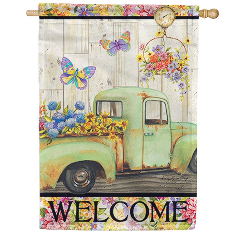 Fresh Flowers Welcome Double Sided House Flag