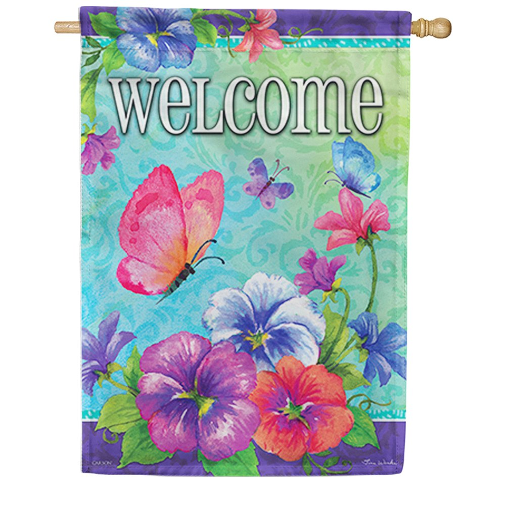 Pansies & Butterflies Double Sided House Flag