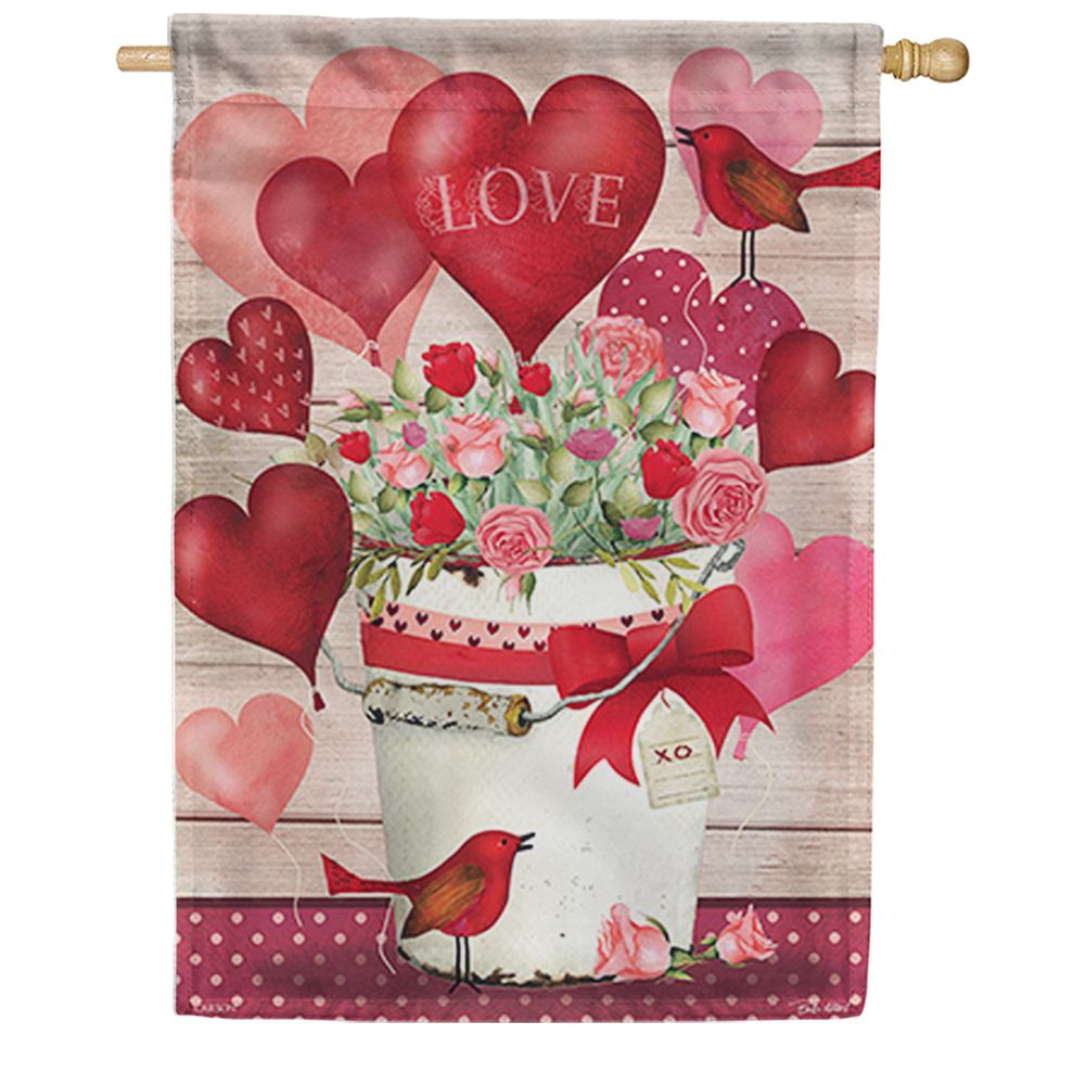 Valentine Bucket Double Sided House Flag