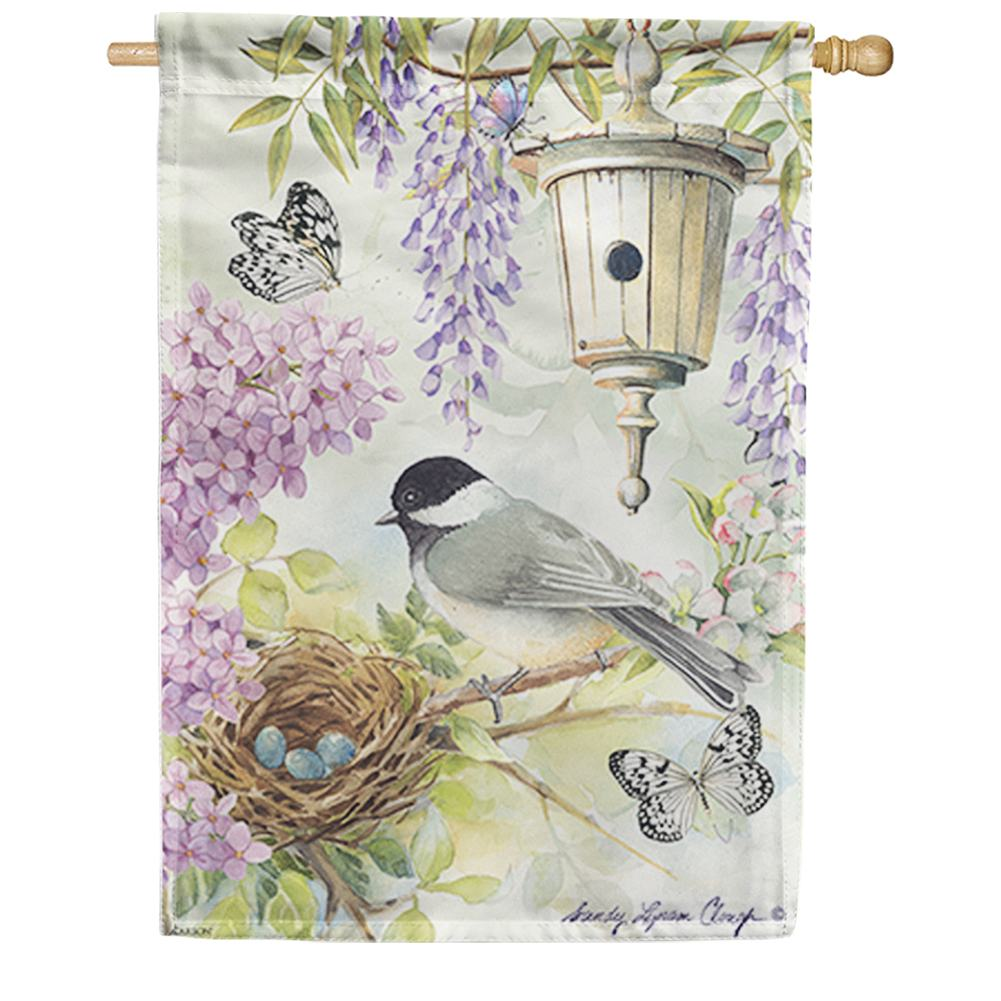 Chickadee Birdsong Double Sided House Flag