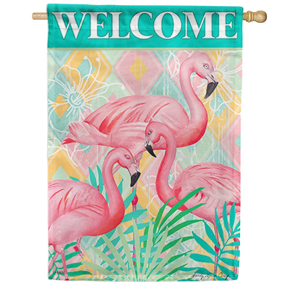 Flamingo Palms Double Sided House Flag