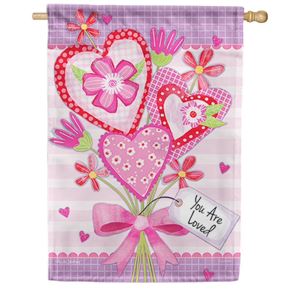 Valentine Bouquet Loved Double Sided House Flag