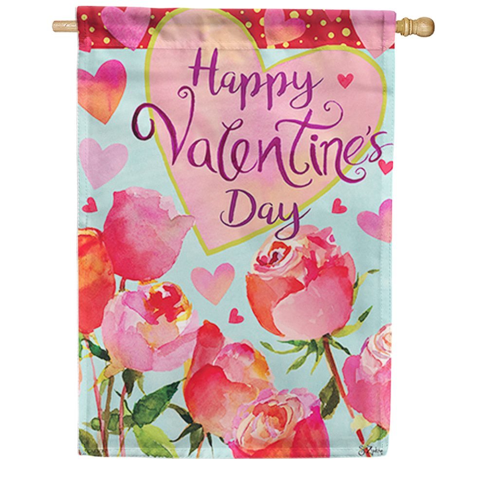 Valentines & Roses Double Sided House Flag