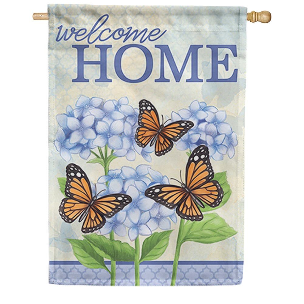 Hydrangeas At Home Double Sided House Flag