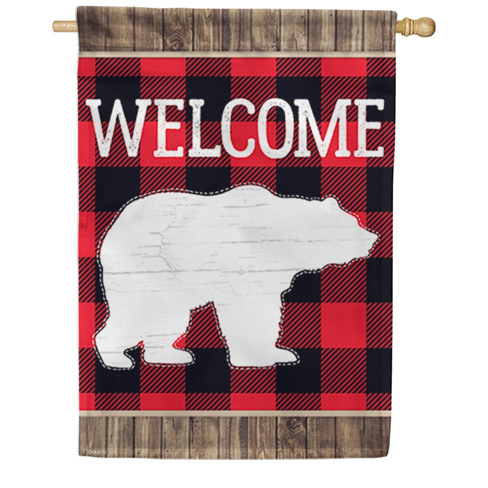 Bear Plaid Double Sided House Flag