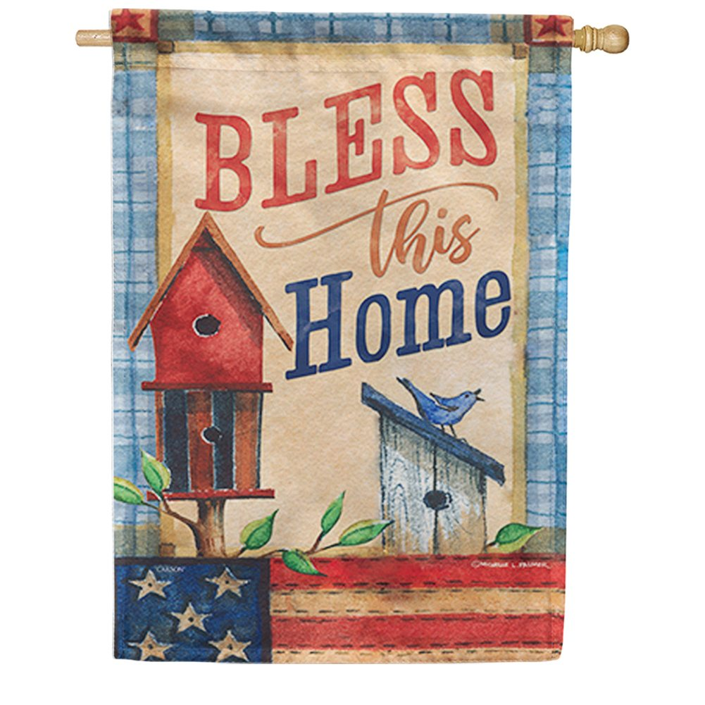 Patriotic Patchwork Double Sided House Flag