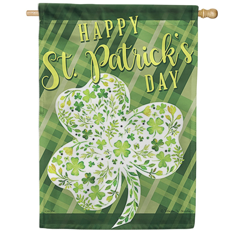 Floral Shamrock Double Sided House Flag