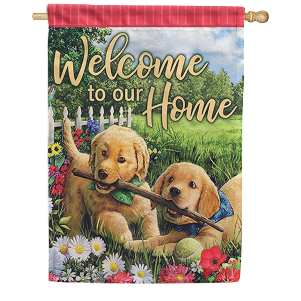 Playful Pups Double Sided House Flag