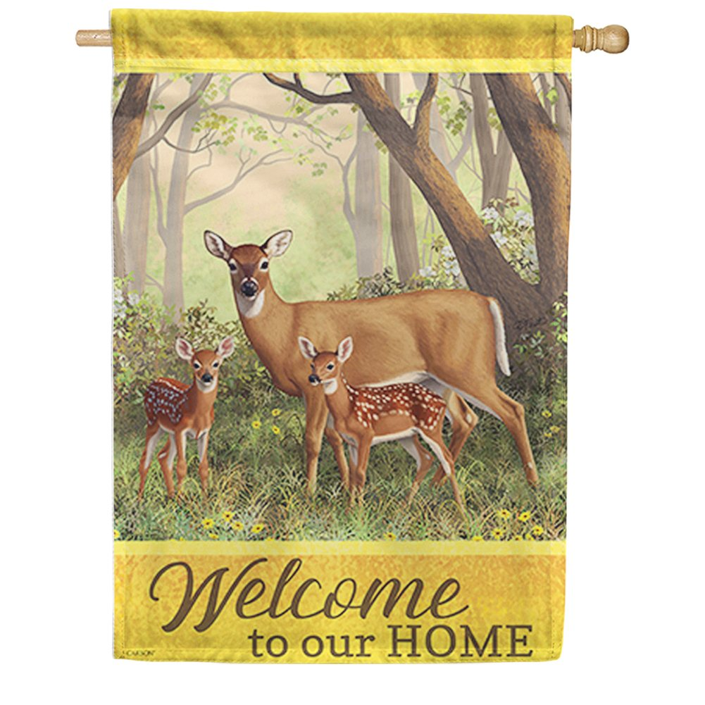 Deer Family Double Sided House Flag