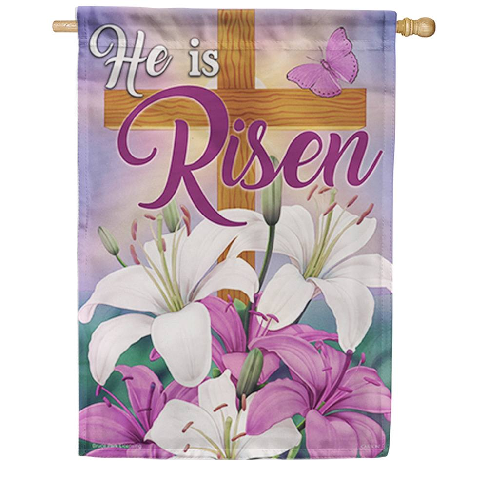 Lilies & Crosses Double Sided House Flag