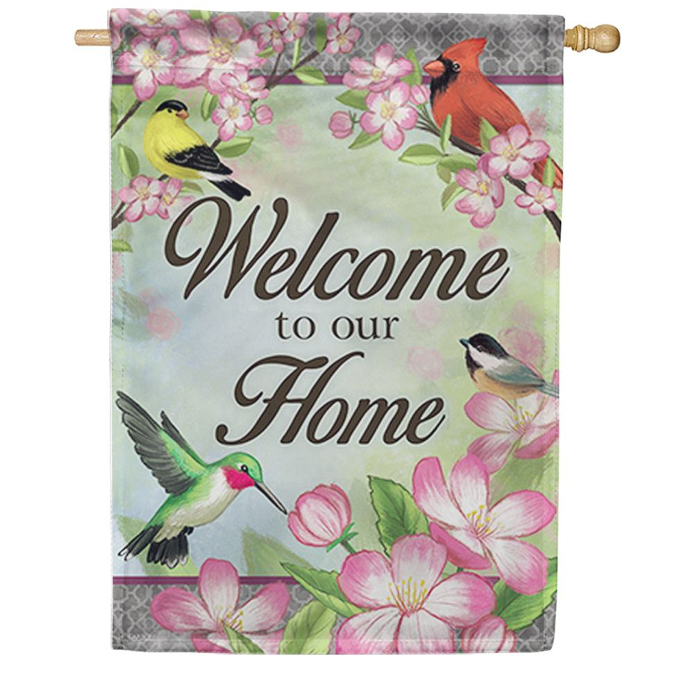 Floral Songbird Double Sided House Flag