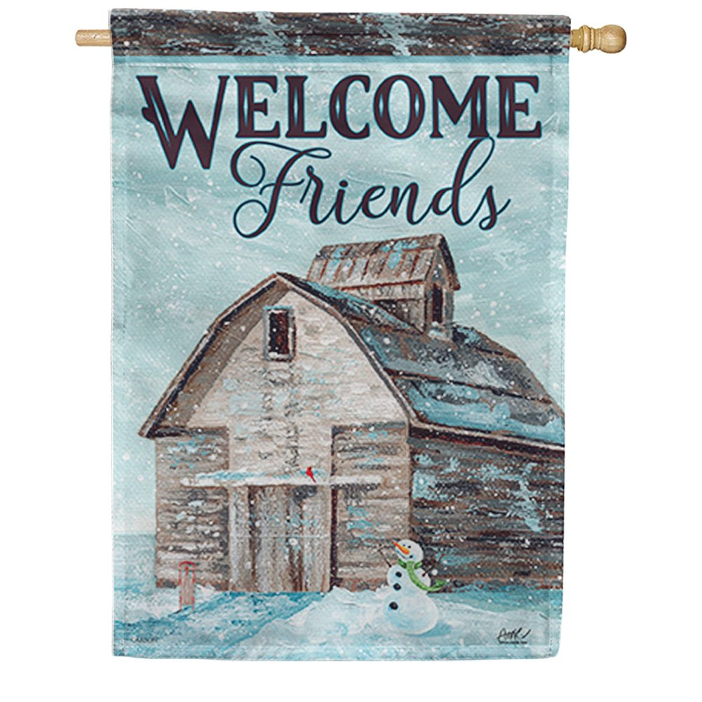 Winter on the Farm House Flag