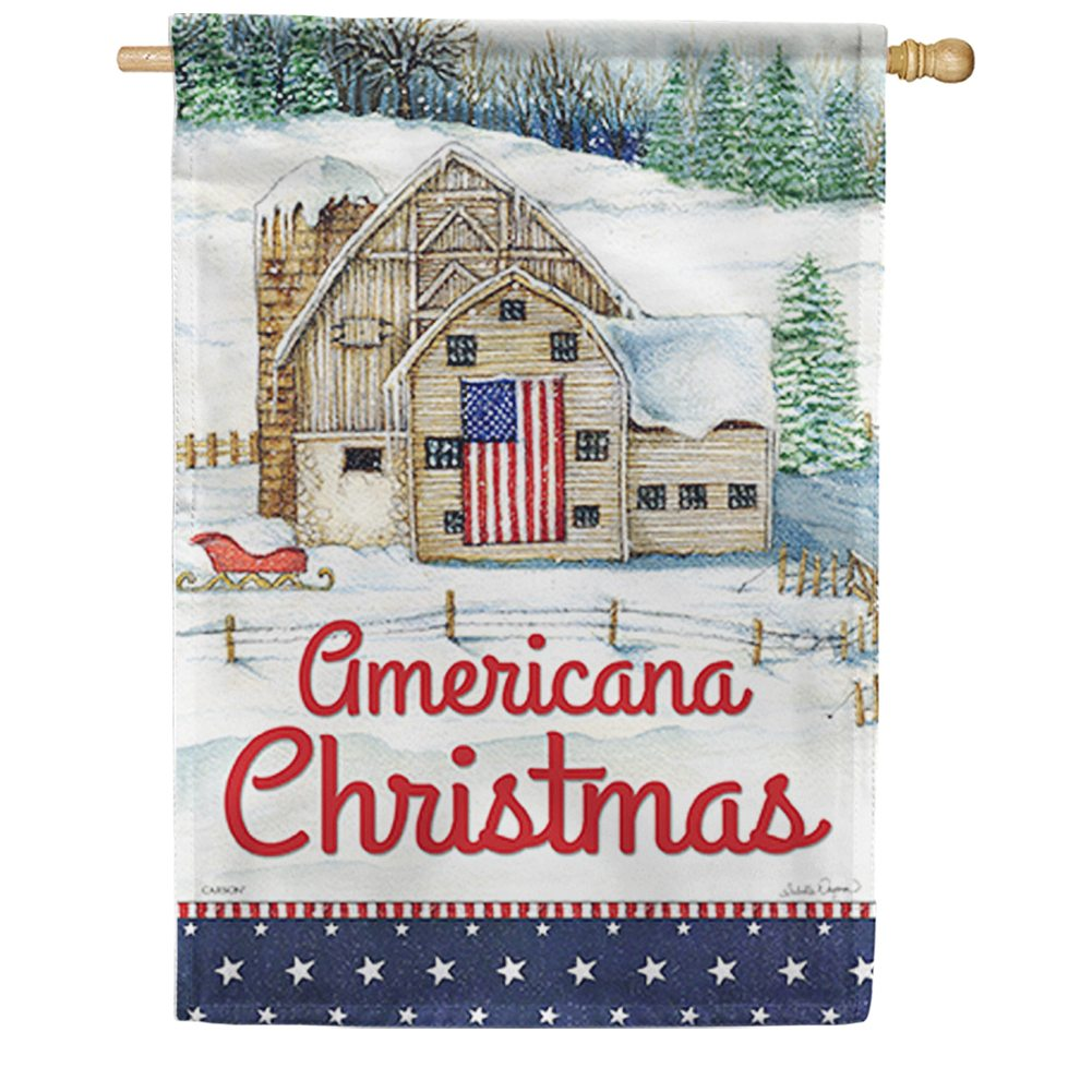 Americana Christmas Farmhouse House Flag