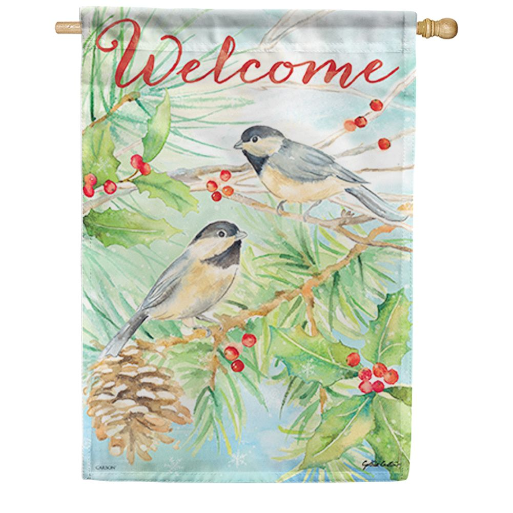 Watercolor Chickadees House Flag