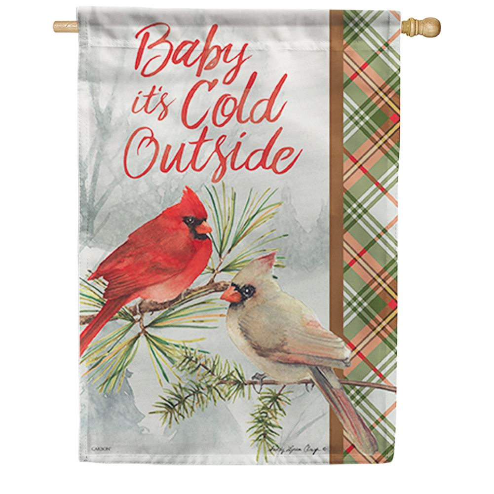 Winter Cardinal Pair House Flag
