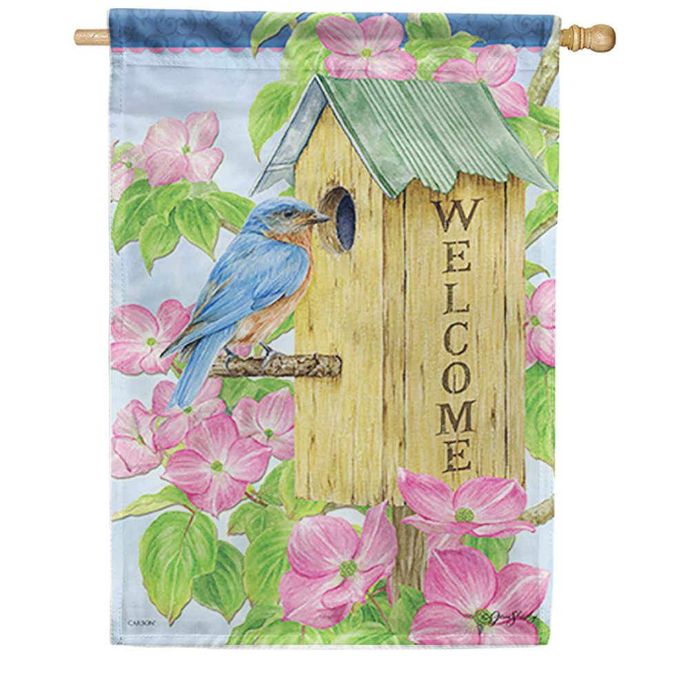 Dogwood Birdhouse Dura Soft Double Sided House Flag