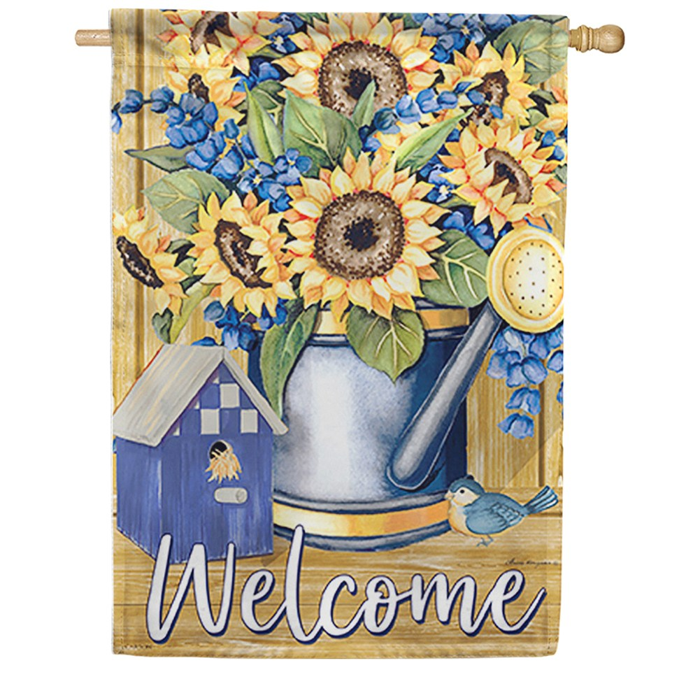 Sunflowers & Blue Dura Soft Double Sided House Flag