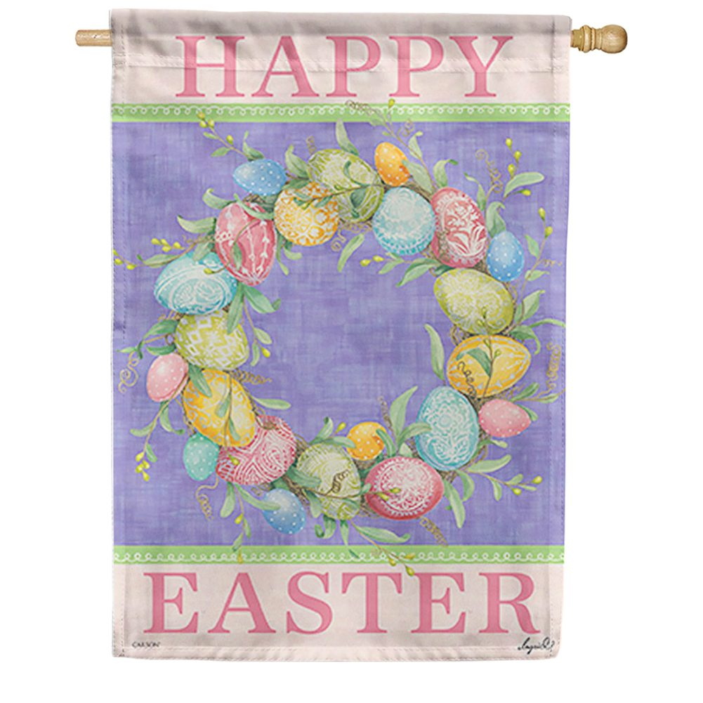 Happy Easter Wreath Dura Soft Double Sided House Flag