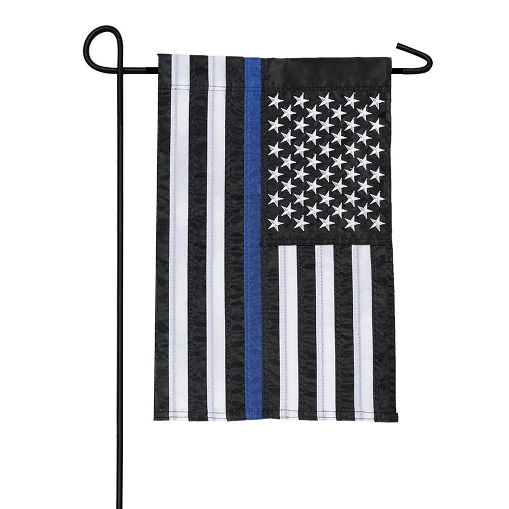 Thin Blue Line Appliqued Garden Flag