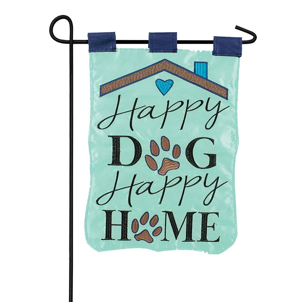 Happy Dog, Happy Home Double Appliqued Double Sided Garden Flag