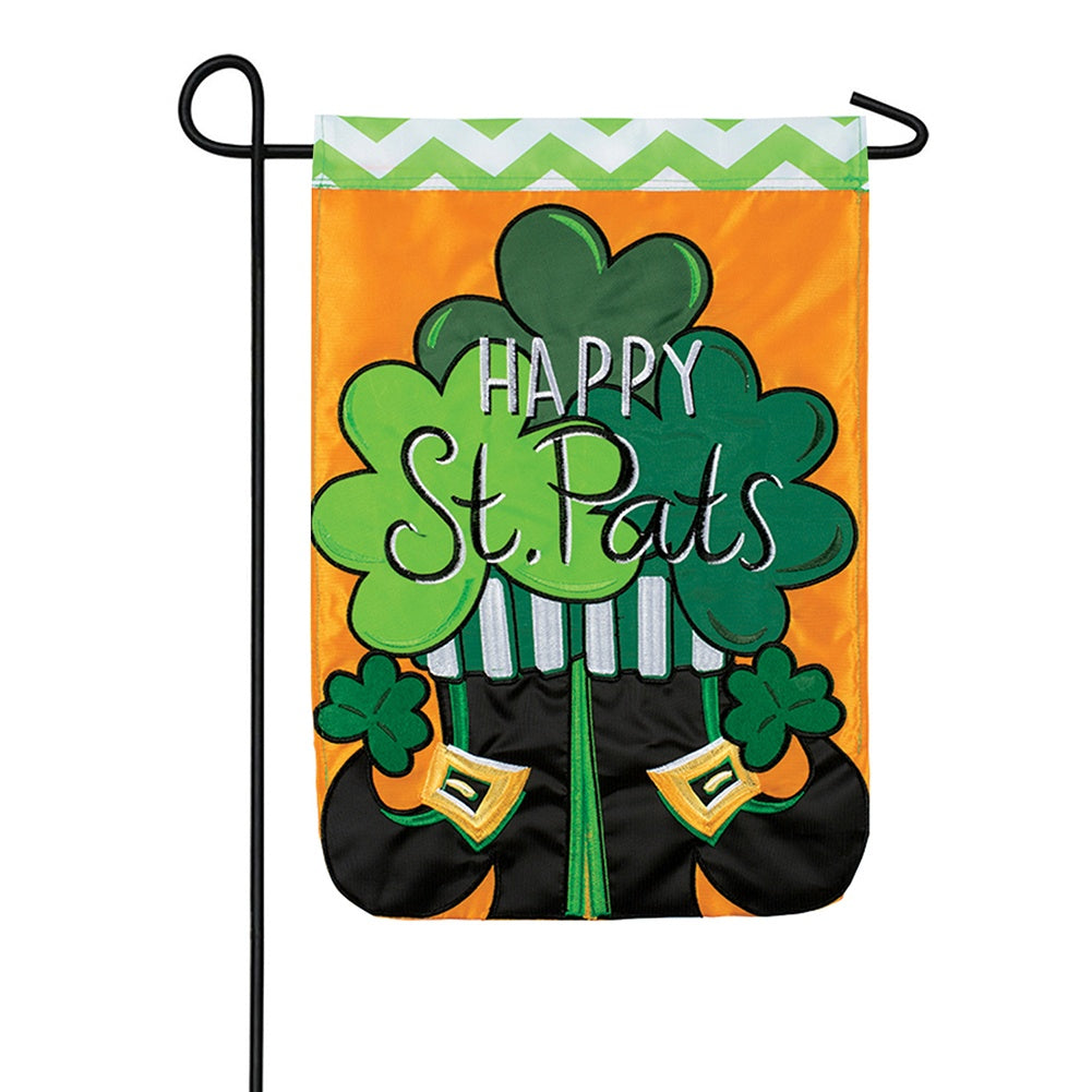 St. Pats Boots Double Appliqued Double Sided Garden Flag