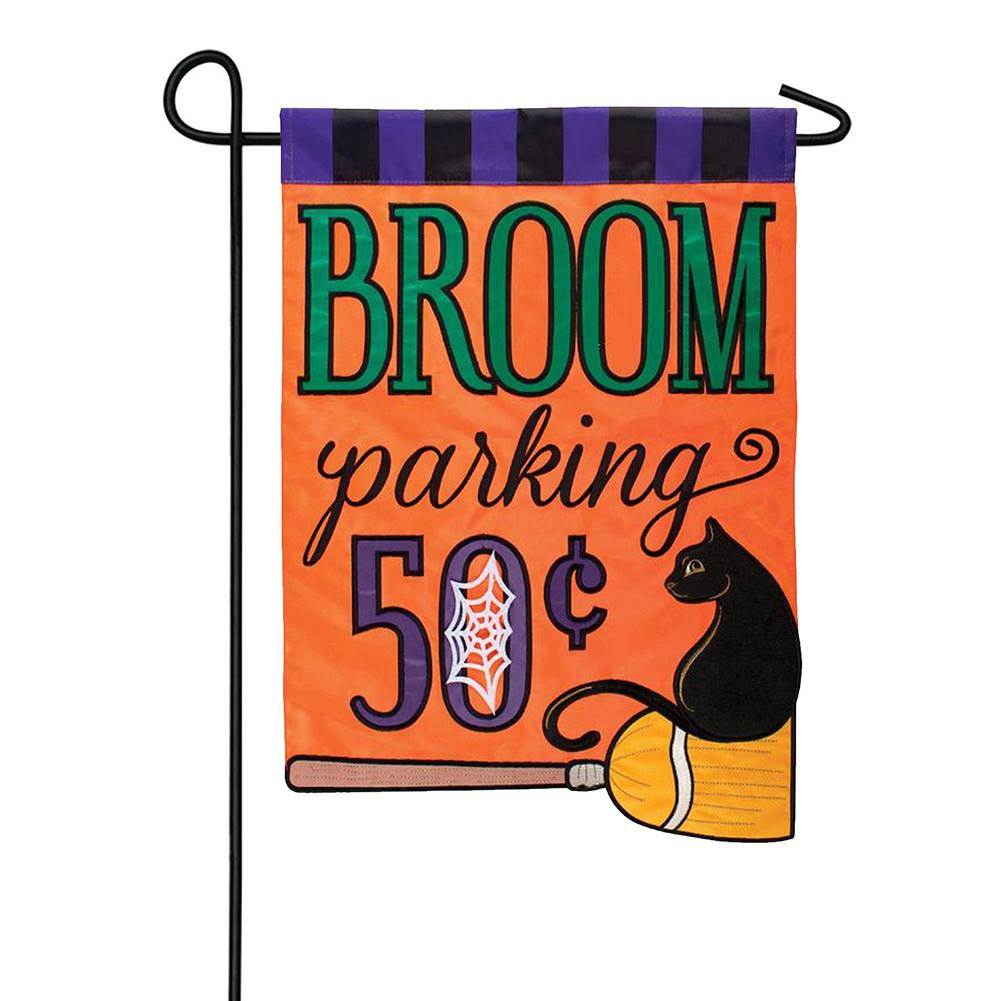 Broom Parking Appliqued Double Sided Garden Flag