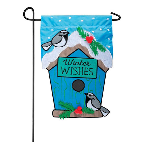 Winter Wishes Appliqued Double Sided Garden Flag