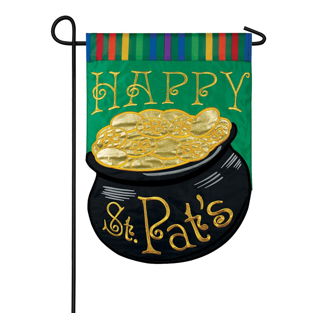St. Pat'S Rainbow Appliqued Double Sided Garden Flag