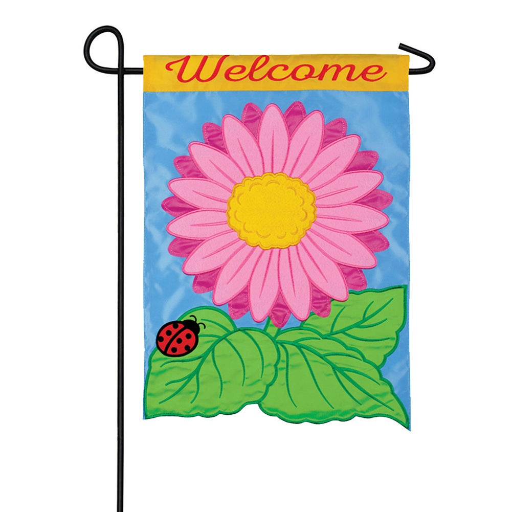 Bright Gerbera Appliqued Double Sided Garden Flag
