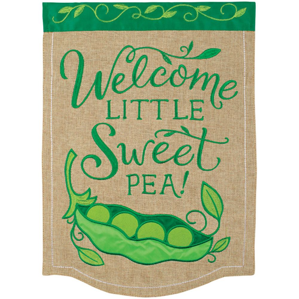 Sweet Pea Appliqued Double Sided Garden Flag