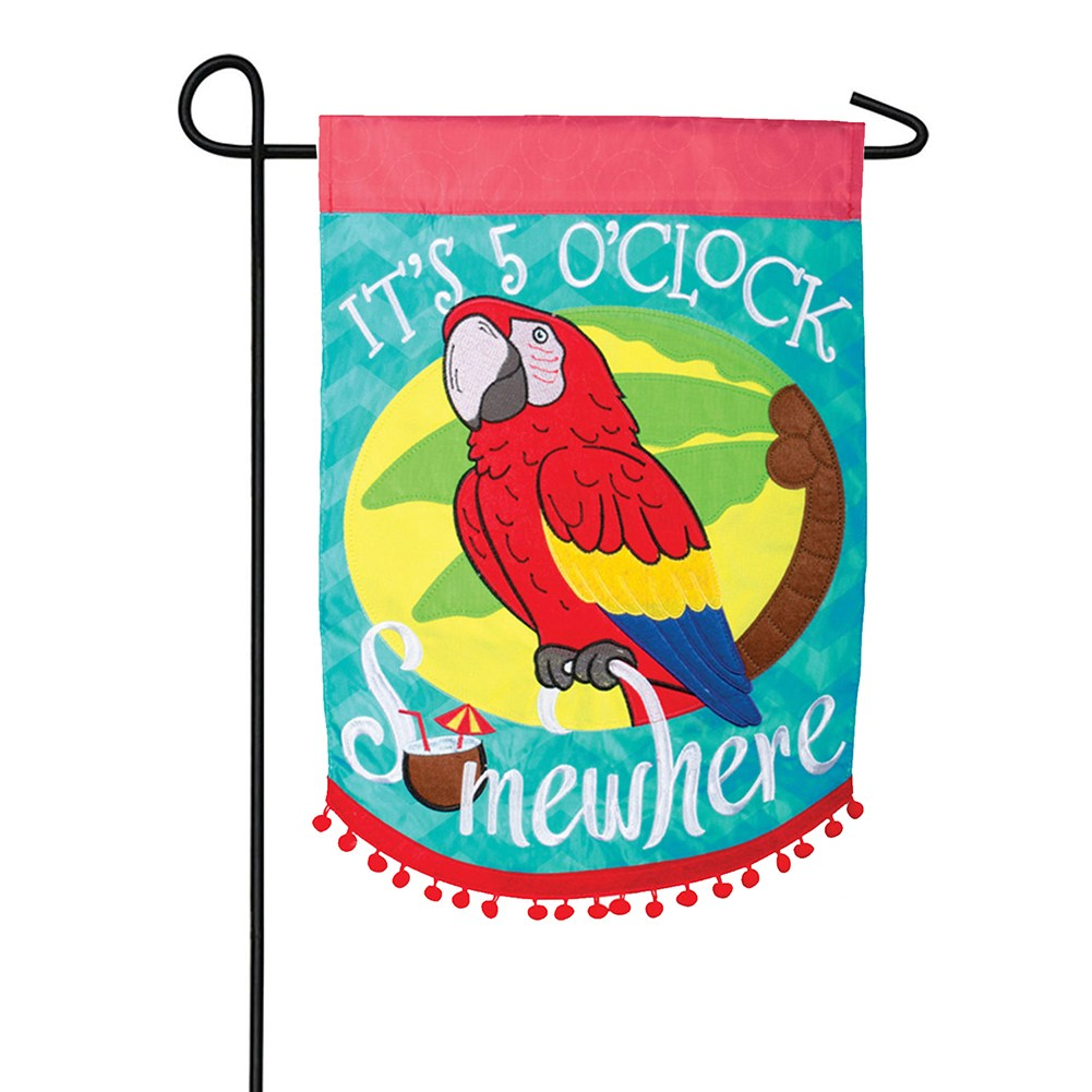 5 O'Clock Somewhere Parrot Double Appliqued Garden Flag
