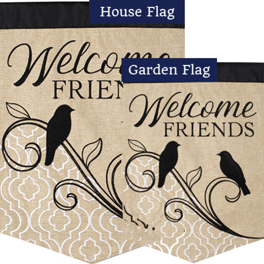 Songbird Welcome Double Appliqued Flags Set (2 Pieces)