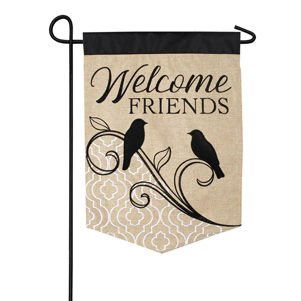 Songbird Welcome Double Appliqued Garden Flag