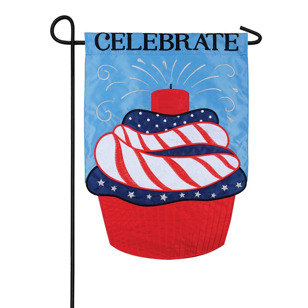Firework Cupcake Appliqued Double Sided Garden Flag