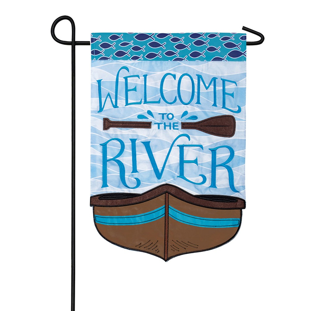 Welcome to the River Appliqued Double Sided Garden Flag