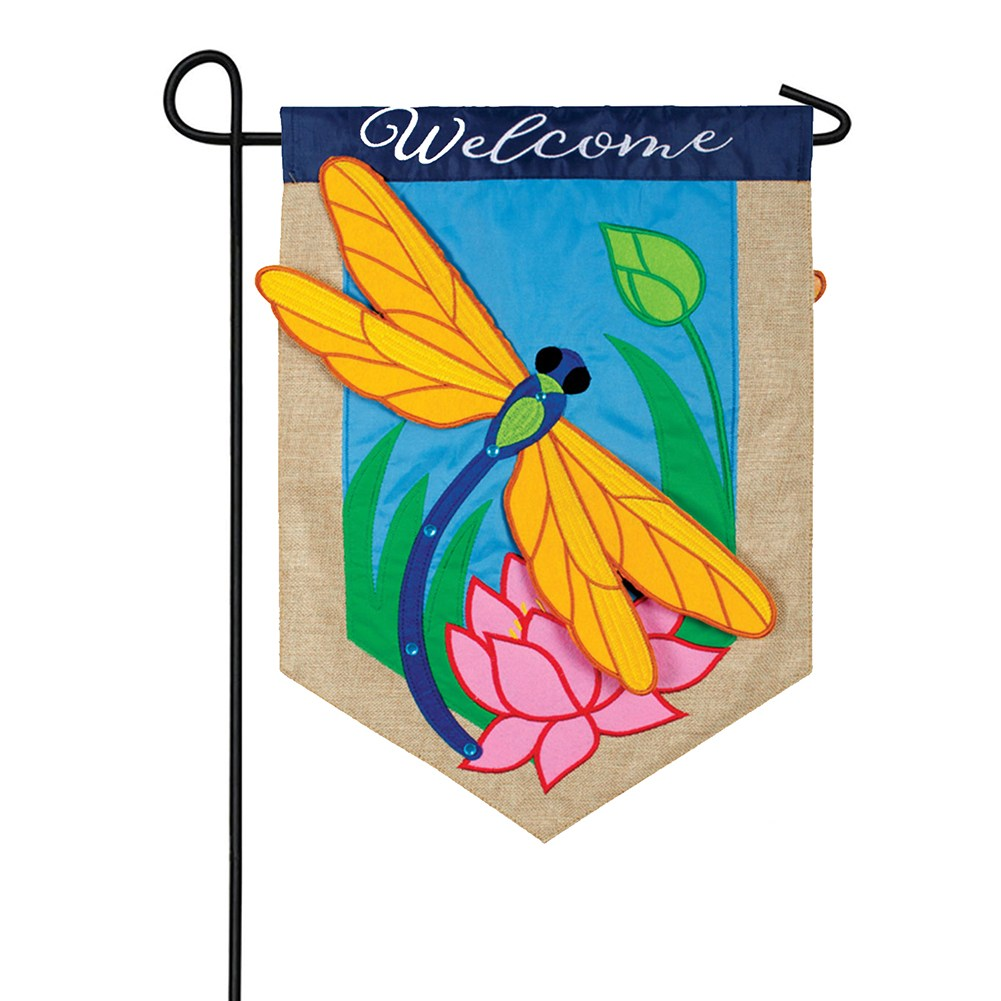 Dragonfly Dreams Appliqued Double Sided Garden Flag