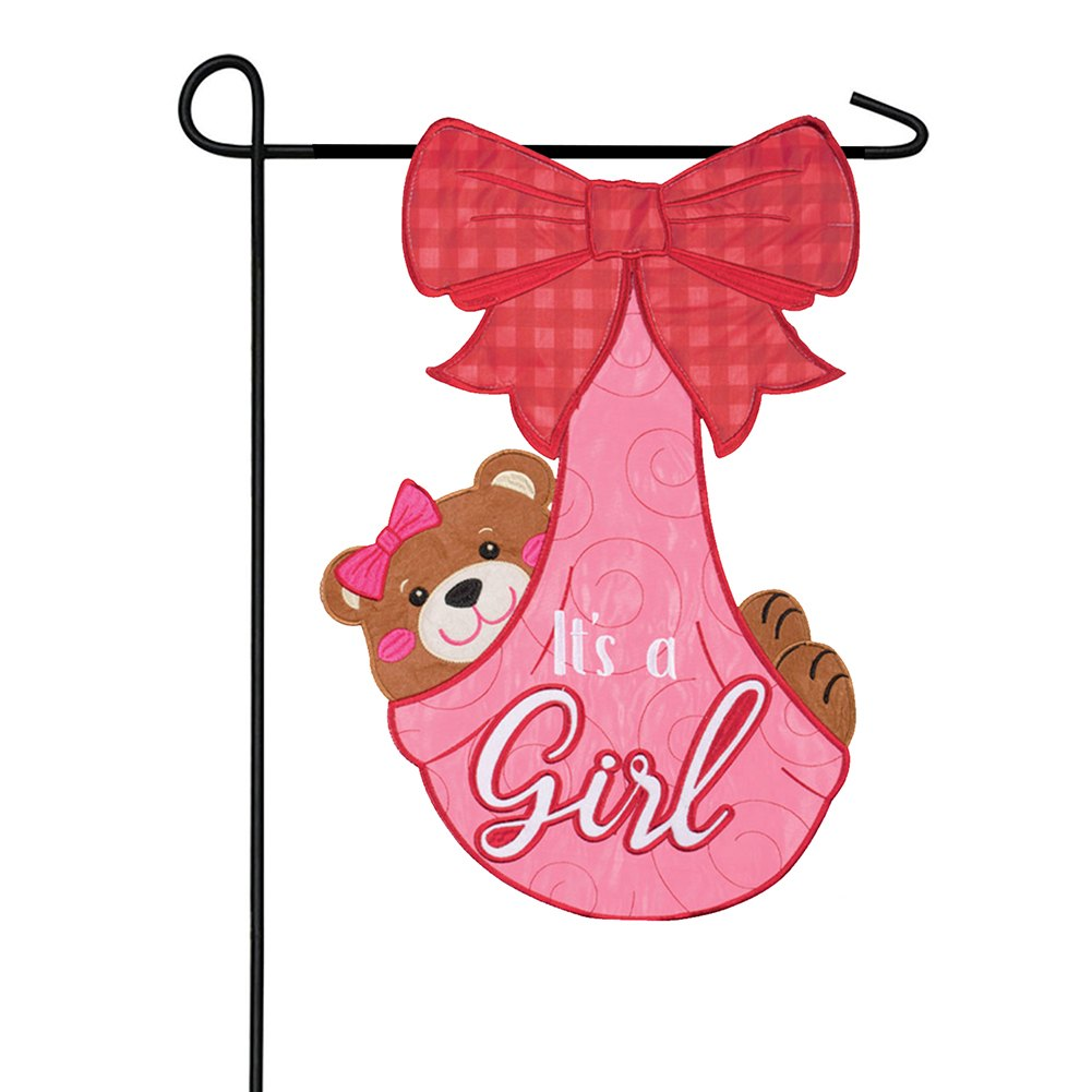 It's A Girl Applique Double Sided Garden Flag