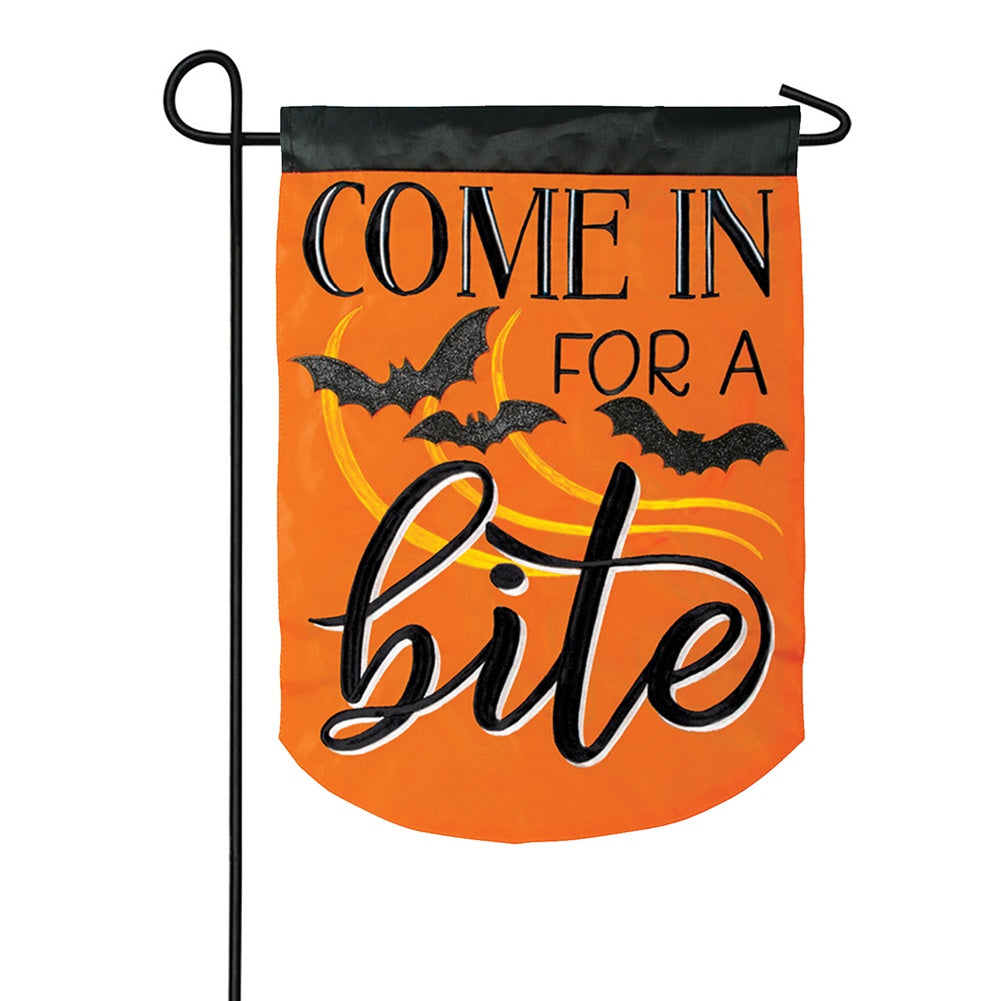 Come In For A Bite Appliqued Double Sided Garden Flag