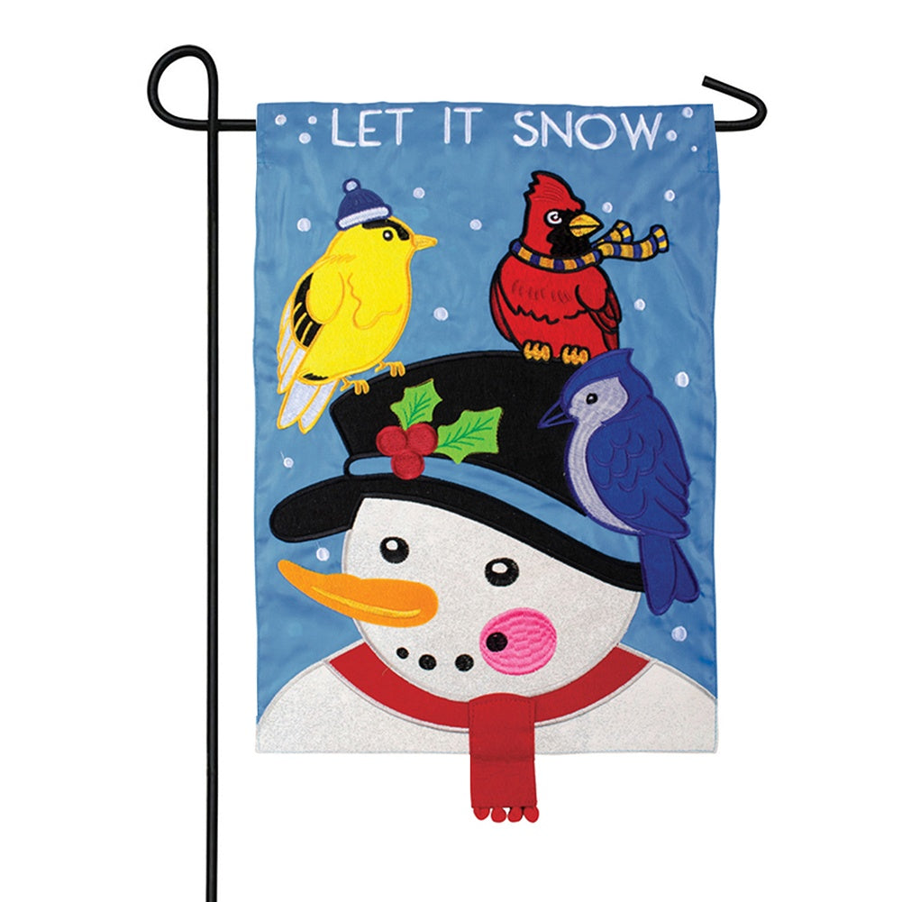 Snowman & Birds Double Appliqued Garden Flag