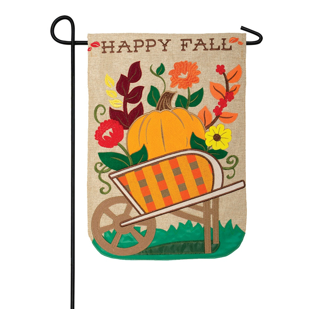 Autumn Wagon Appliqued Double Sided Garden Flag