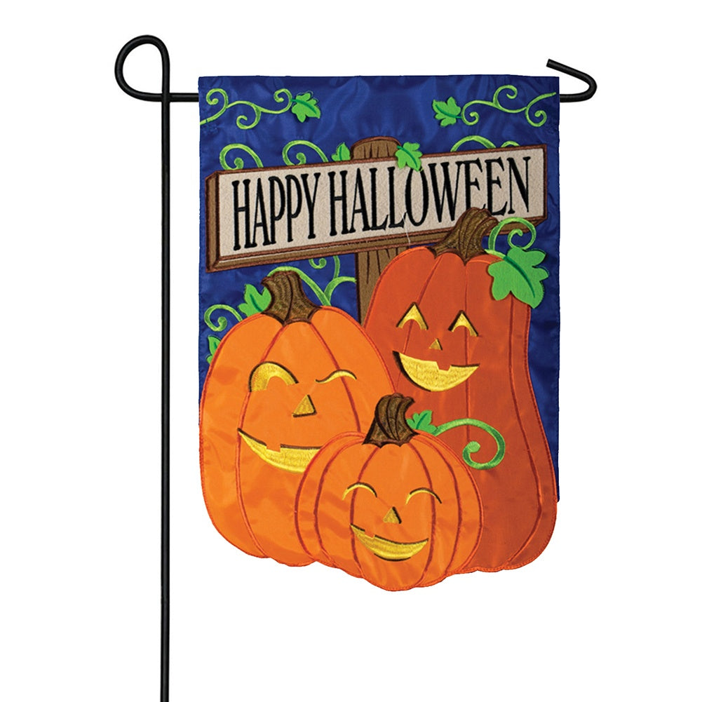Happy Jack-O-Lanterns Appliqued Double Sided Garden Flag