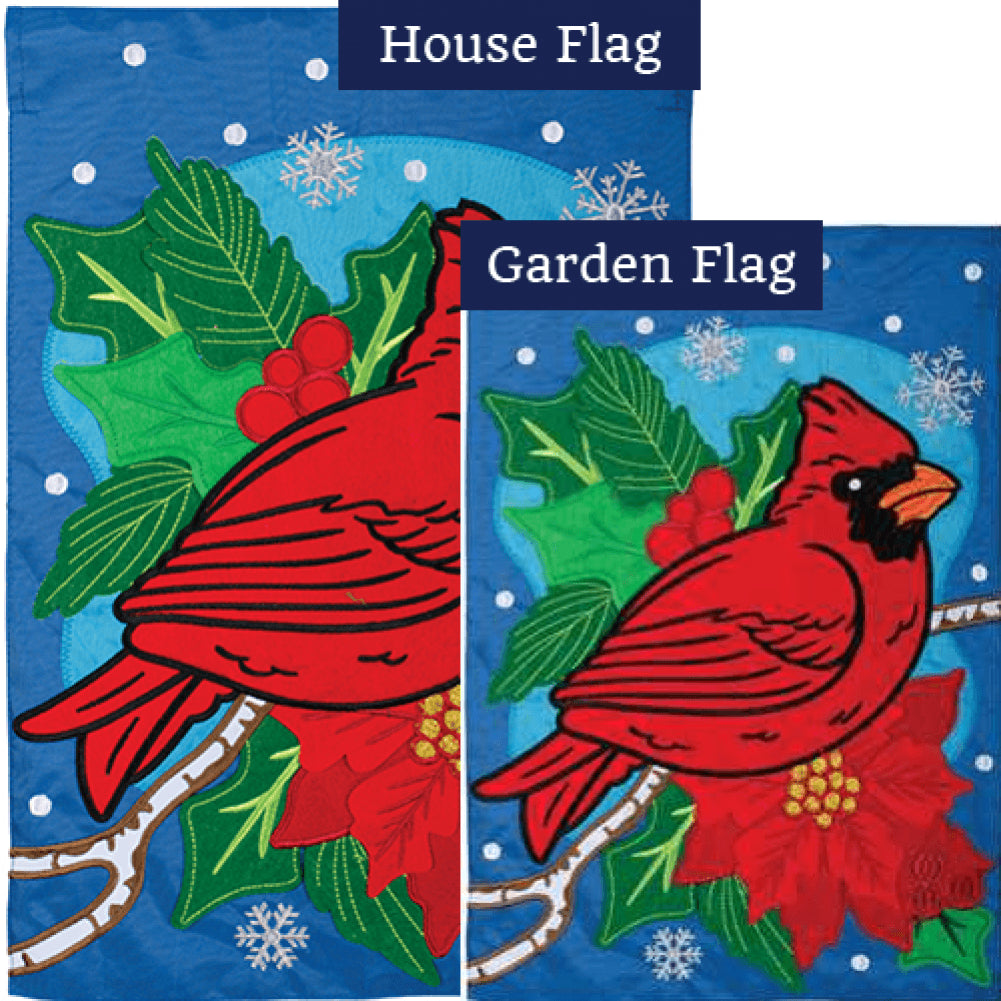 Cardinal Holly Berries Double Appliqued Flags Set (2 Pieces)