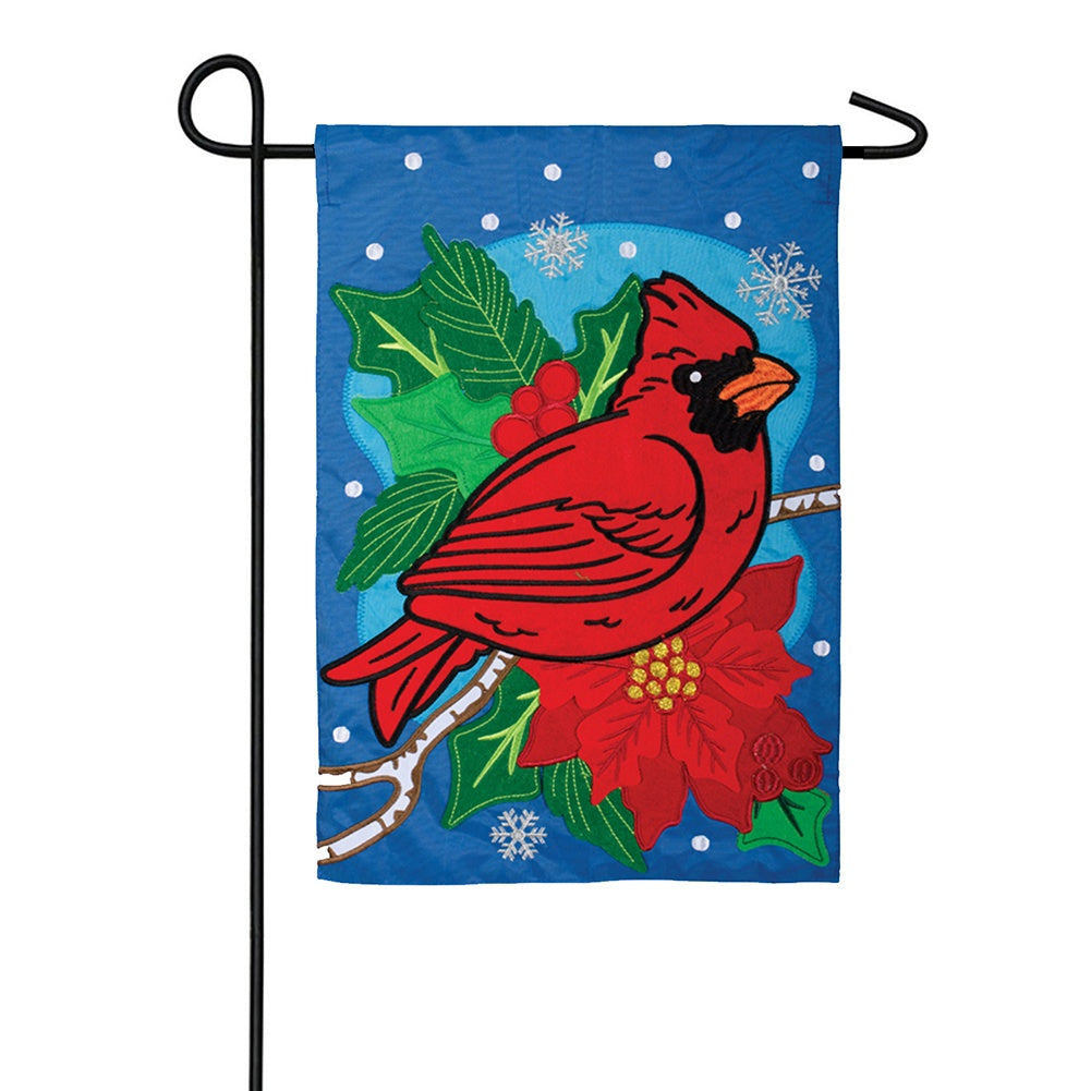 Cardinal Holly Berries Double Appliqued Garden Flag